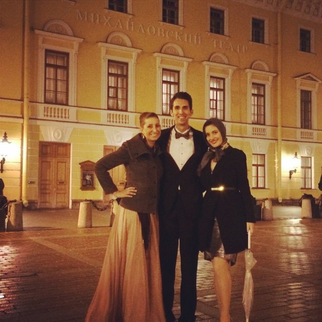 Kathleen, Marcus and I outside the Mikhailovsky Theatre